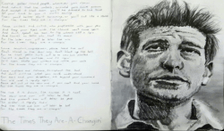 Bob Dylan sketch with handwritten for the song times they are changing