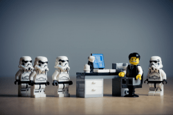 lego manager with storm troopers