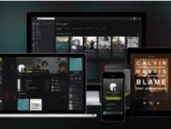 Is an image that displays different platforms that Spotify is available on. There is an iMac, MacBook Pro, iPad, iPhone, and an Android phone.