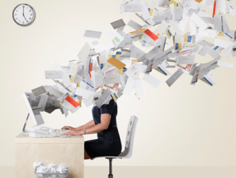 Physical representation of information overload overwhelming online users